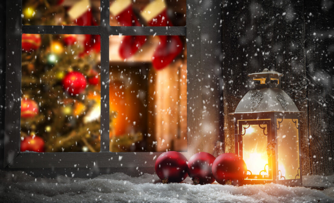 Christmas window sill and fireplace